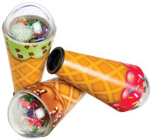 4 Inch Ice Cream Cone Kaleidoscope Viewer Toy - Colors Vary