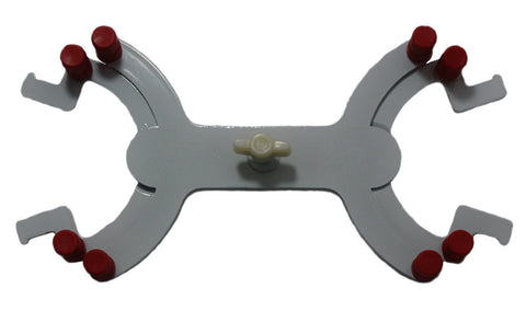 Double Burette Clamp with Enamel Finish & Curved Arms