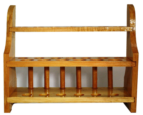 13 Place Wooden Test Tube Rack w/Two Tiers for 25mm and 22mm Test Tubes - Online Science Mall