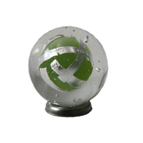 """Moss Green Silver Tape "" 16mm Handmade Art Glass Marble w/Stand"