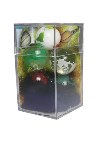 Boxed Set of 5 Rainbow Earth Marbles 22mm with Bag & Stands - Colors Vary