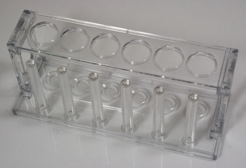 6 Place Acrylic Plastic Test Tube Rack w/22mm Openings