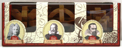 Great Minds Set of 3 Wooden Brainteaser Puzzles - Galileo, Halley & Kepler