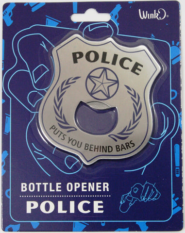 Police Chief Badge Behind Bars Bottle Opener