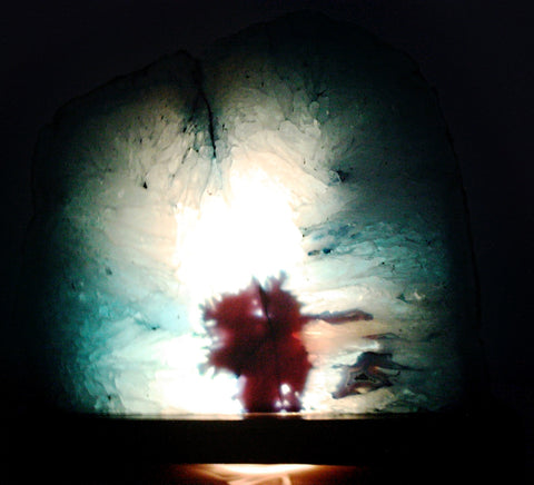 ... Large Agate Geode Lamp 9 X 7.5 Inches   Teal
