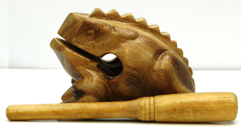 Wooden Croaking Frog Güiro Percussion Instrument, w/Rasp