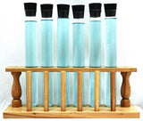 Wooden Test Tube Rack w 6 LG Test Tubes and Stoppers