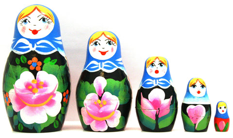 Wild Rose Matryoshka Russian Nesting Dolls - Set of 5