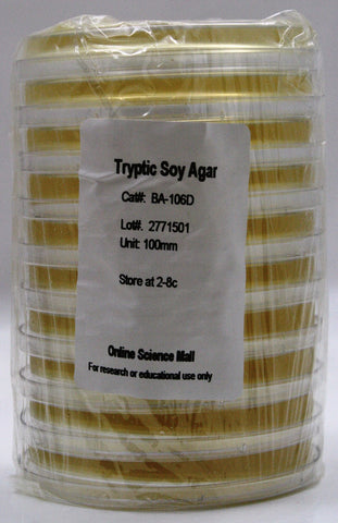 10 Pre-Poured Plates of Tryptic Soy Agar - Online Science Mall