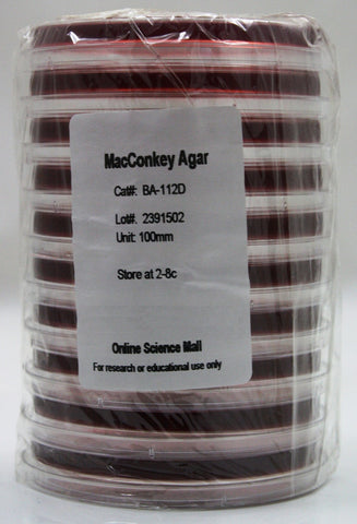 10 Pre-Poured Plates of MacConkey Agar - Online Science Mall