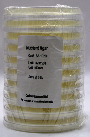 10 Pre-Poured Plates of Nutrient Agar - Online Science Mall