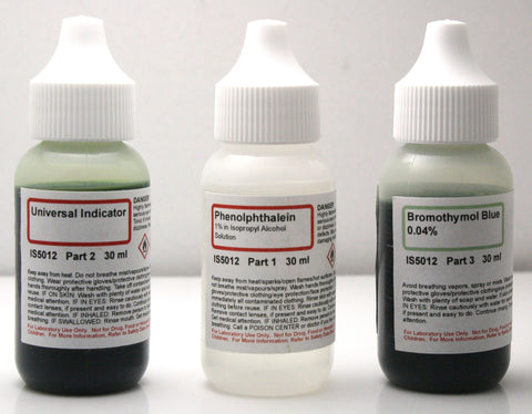 pH Indicator Set w/Phenolphthalein, Bromothymol Blue, and Universal Indicator