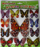 Exotic Butterflies One Dozen 3D Nature Stickers - Colors Vary