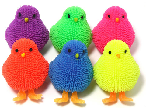 Set of 4 Light Up Silicone Squishy Chicks - Colors Vary
