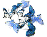9 Piece Blue Hand Painted Butterfly Garland