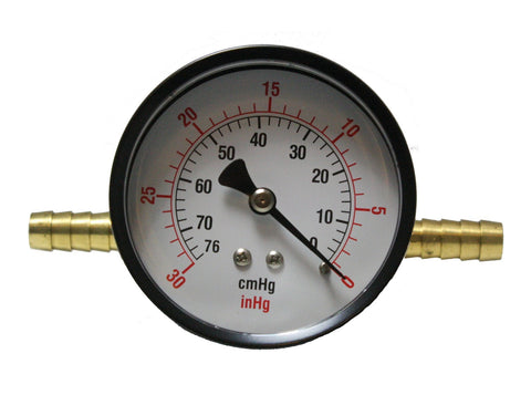 Bourdon Tube In-Line Vacuum Gauge for High Vacuum Pumps