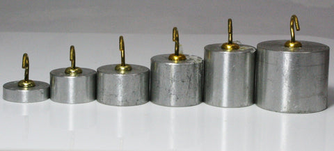 Set of 6 Aluminum Hooked Masses w/Plastic Base - 10g to 100g