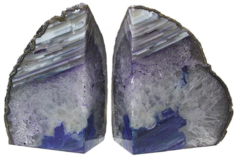 Large Purple Agate Geode Bookends