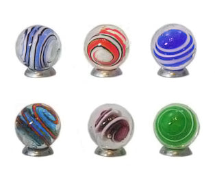 """Bumble Bubble"" 16mm Handmade Art Glass Marbles - Set of 6 w/Stands"