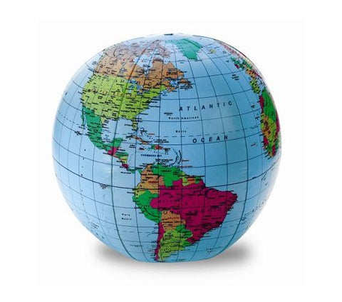 "Inflatable World Globe - 12"" Geopolitical with Country & City Names"