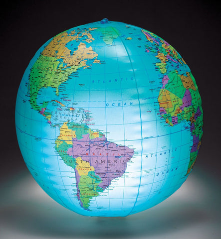 "Light Up Inflatable Globe - 12"" Geopolitical with Country & City Names"