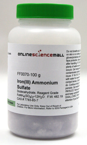 Iron (III) Ammonium Sulfate, Dodecahydrate, 100g - Reagent Grade Chemical Reagent