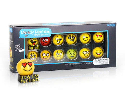 Glass Shooter Moody Marbles Emoji Series 1 - Gift Set of 12 by Mega Marbles