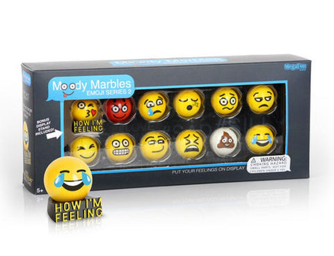 Glass Shooter Moody Marbles Emoji Series 2 - Gift Set of 12 by Mega Marbles