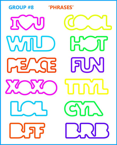 LOL Text And Cool Phrases Shaped Rubber Bands Pk24