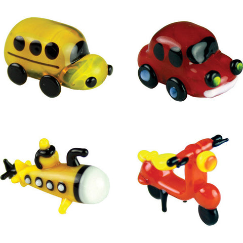 Looking Glass Torch - Transportation Miniatures - Bus, Car, Submarine & Scooter (4-Pack)