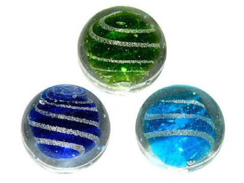 """JetStream"" 25mm Handmade Art Glasses Marbles - Set of 3 w/stands"