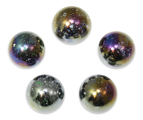 "7/8-Inch ""Jupiter"" Marble 22mm Shooters - Pack of 5 w/Stands"