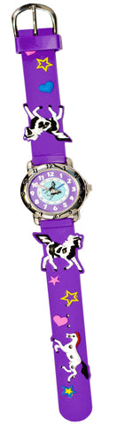The Kids Watch Company Paint Horses Watch One Size Purple Band