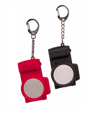 Two Camera Shaped Keychains with Magnifier and LED