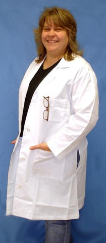 XXXL (3X) White Lab Coat - 65% Dacron 35% Cotton w Pockets