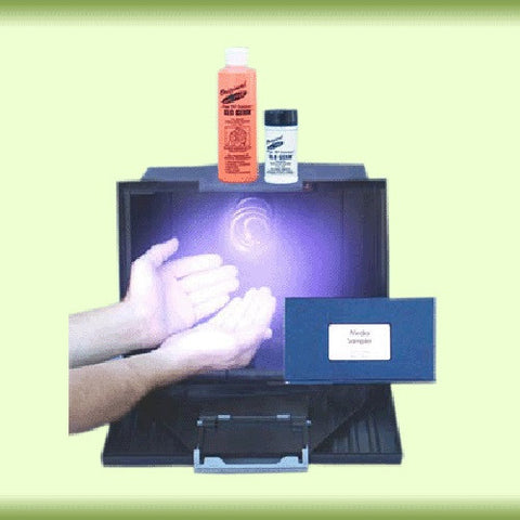 Large Glo-Box Kit with Glo Germ Gel & Powder w Ultraviolet Blacklight
