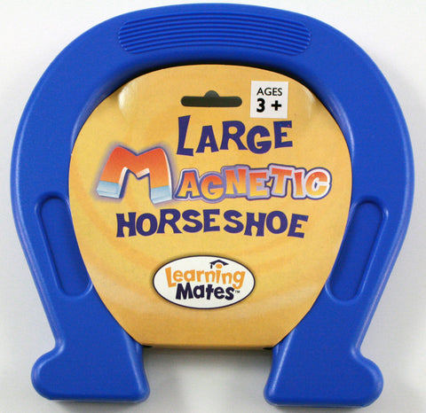 Plastic Encased Large Magnetic Horseshoe  7.5 x 7.5 Inches -BLUE