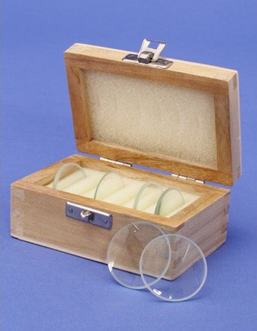 50mm Optics Lens Demonstration Glass Set, w/Wooden Storage Box