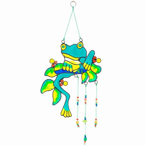Colorful Frog Suncatcher; Sun Catcher w Beads
