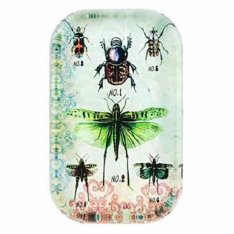 Glass Paperweight with Insect Print
