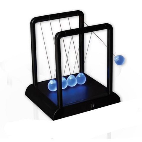 Light Up Newtons Cradle - Kinetic Energy Physics 7.25 Inces Tall on Black Base