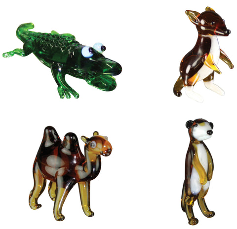 Looking Glass Torch Figurines - Alligator, Kangaroo, Camel, Meerkat  (4-Pack)