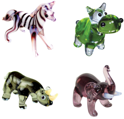 Looking Glass Torch - Jungle Figurines - Zebra, Hippo, Rhino, Elephant  (4-Pack)