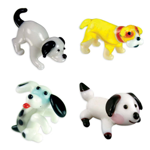 Looking Glass Torch - Canine Figurines - 2 Puppies, Boxer & Spaniel (4-Pack)