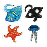 Looking Glass Torch - Ocean Figurines - Jellyfish, Starfish & 2 Different Rays (4-Pack)