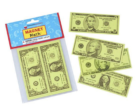 Magnet Math - 12 Assorted Magnetic US Currency Replicas