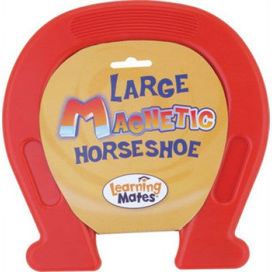 Plastic Encased Large Magnetic Horseshoe  7.5 x 7.5 Inches - RED