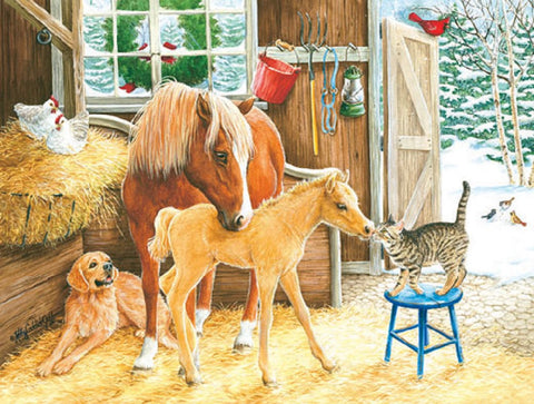 Making Friends - Horse Meets Cat & Dog Mini Jigsaw Puzzle 100 Piece