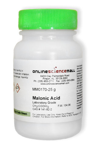 Malonic Acid, 25g - Lab Grade Chemical Reagent