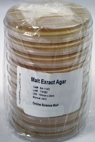 10 Pre-Poured Plates of Malt Extract Agar - Online Science Mall